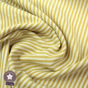 Tissu coton/viscose rayures blanc/bleu