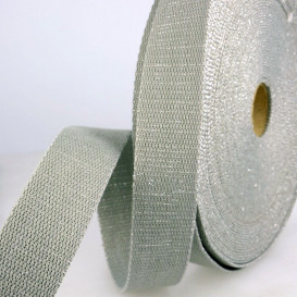 Sangle lurex 30 mm - blanc/argent