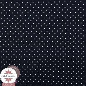 Tissu coton enduit - mini pois marine