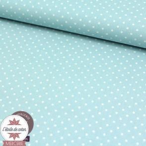 Tissu coton enduit - mini pois bleu ciel