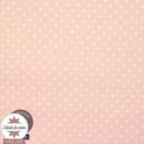 Tissu coton enduit - mini pois rose clair