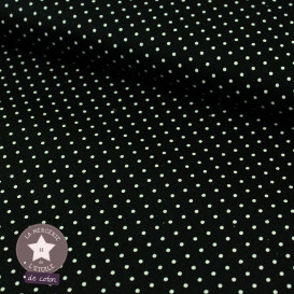 Tissu coton enduit - mini pois noir