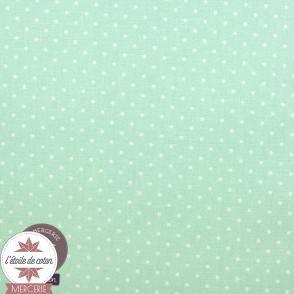 Tissu coton enduit - mini pois vert jade