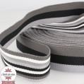 Sangle 40 mm - stripe double face - gris