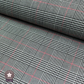 Tissu Prince de Galles noir et blanc liseré rouge