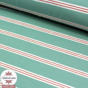 Jersey rayé vert - blanc - rouge