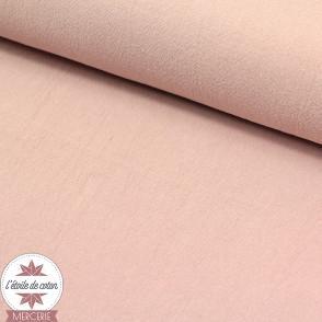 Tissu coton lavé - rose poudré