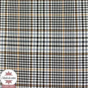 Tissu tartan écossais écru-marron