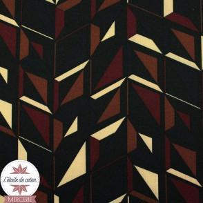 Tissu microfibre graphique noir/bordeaux/marron/écru