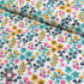Tissu coton millefleurs Milly ocre/turquoise - Oeko-Tex