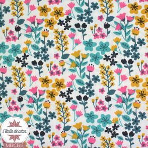 Tissu coton millefleurs Milly Bleu/lagon - Oeko-Tex