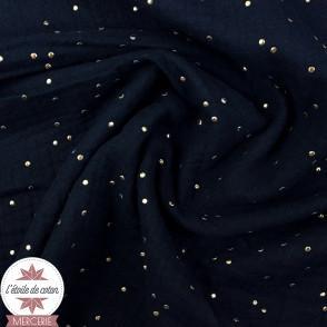 Double gaze Oeko-Tex - bleu nuit et pois dorés