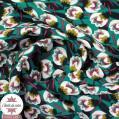 Tissu viscose fleuri Dimeo vert émeraude - Oeko-Tex