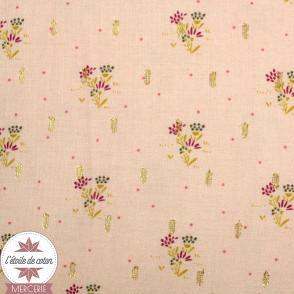 Tissu viscose blush fleuri et lurex by Penelope®