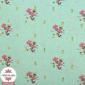 Tissu viscose menthe fleuri et lurex by Penelope®