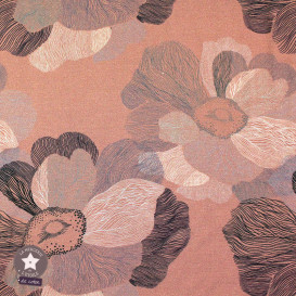 Tissu viscose stretch - Art flower rose