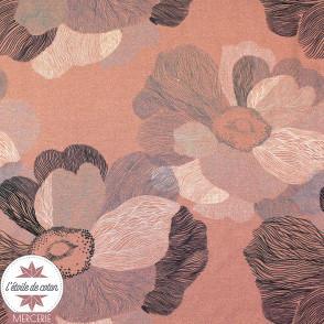 Tissu viscose stretch - Art flower rose