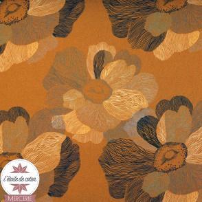 Tissu viscose stretch - Art flower ocre