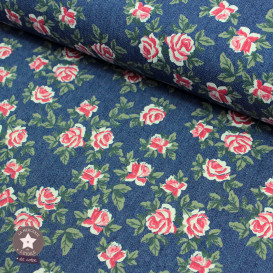 Tissu coton chambray - bleu jean - roses rouges