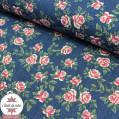Tissu coton chambray - bleu jean - roses rouges