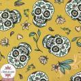 Tissu coton Calaveras moutarde - Oeko-Tex