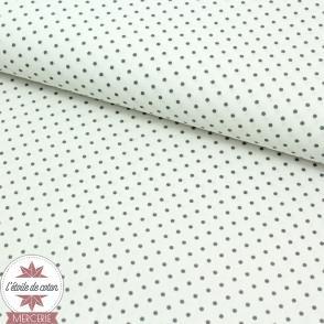Tissu coton enduit - mini pois gris sur fond blanc