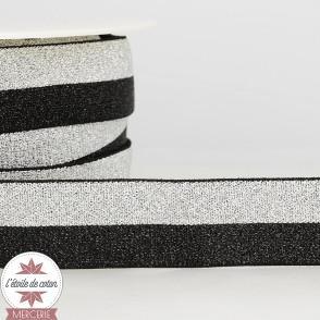 Ruban élastique noir/argent 25 mm
