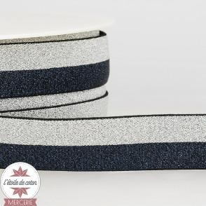 Ruban élastique marine-argent 25 mm