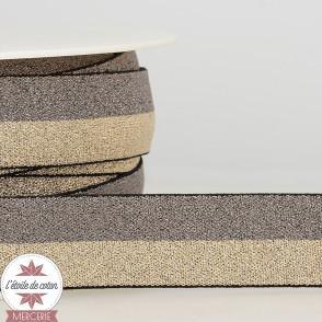 Ruban élastique gris-or 25 mm