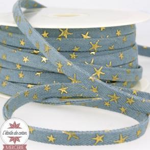 Lanière jean bleu clair - étoiles dorées - 10 mm