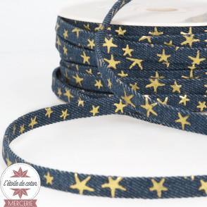 Lanière jean bleu brut - étoiles dorées - 10 mm
