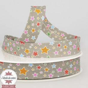Biais gris clair étoiles multicolores - 20 mm