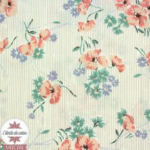 Tissu japonais Kokka - coton fleuri Babeth