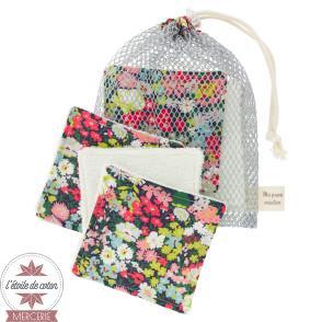 Kit 6 lingettes + sac filet - Liberty Poppy Daisy