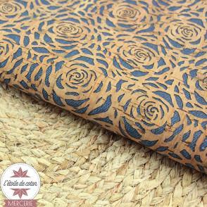 Tissu liège véritable - fleurs