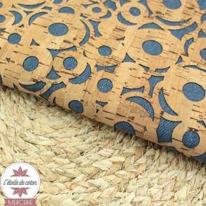 Coupon 50 x 68 cm - Tissu liège véritable fleurs sur fond jean