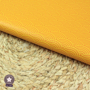 Simili cuir fin vagues canard - coupon 50 x 70 cm