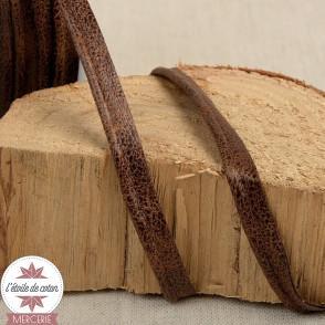 Passepoil simili cuir vieilli marron - 20 mm