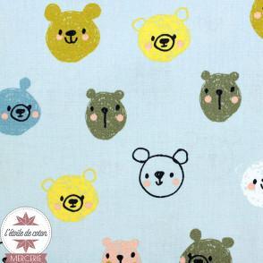 Popeline de coton Monsters by Poppy bleu ciel - Oeko-tex