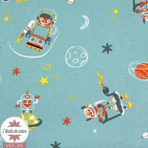 "Popeline de coton ""Cool Space Vehicules"" by Poppy - Oeko-tex"