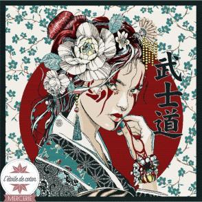 Carré jacquard Geisha turquoise - 48 x 48 cm