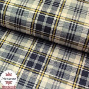 Tissu suédine à carreaux beige-marine lignes jaunes