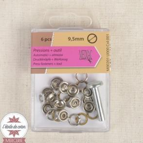 Lot de 6 pressions anneau métal blanc + outil