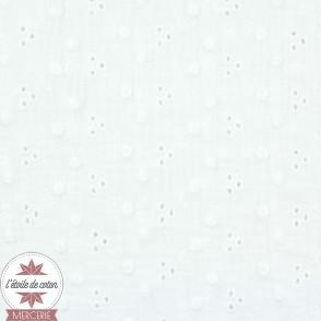 Double gaze brodée Adèle Oeko-Tex - blanc