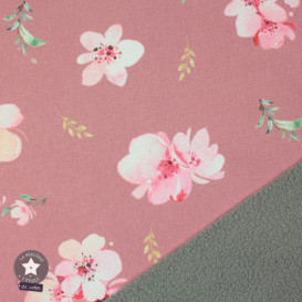 "Tissu déperlant/Softshell ""Cherry Blossom""rose by Poppy"