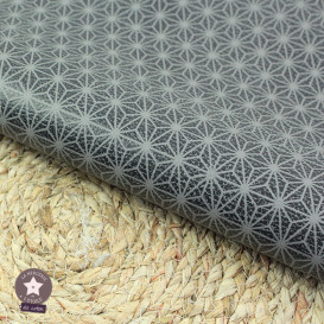 Simili cuir fin étoilé ardoise - fond gris - coupon 50 x 70 cm