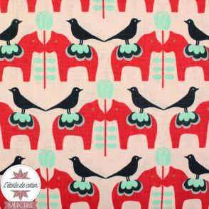 Tissu japonais Kokka - Cute Bird Red - toile coton/lin