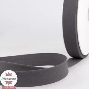 Biais uni polycoton 20 mm - gris anthracite