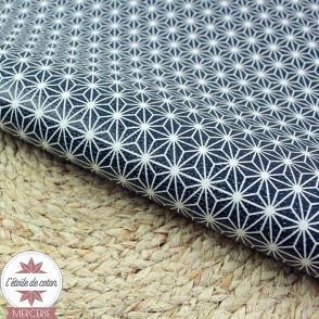 Simili cuir fin étoilé marine - fond blanc - coupon 50 x 70 cm
