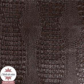 Simili cuir Crocodile chocolat - coupon 50 x 70 cm